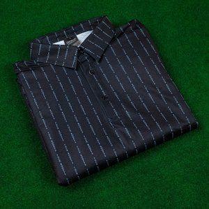 "Golf Gods Black ""F*ck Bogeys"" Pin Stripe Polo"
